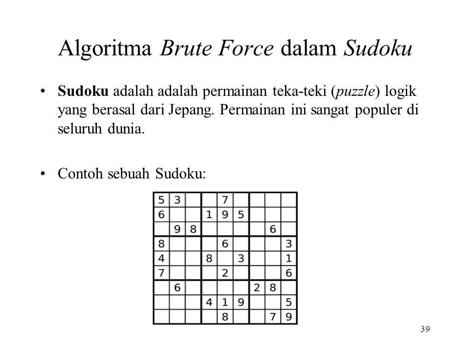Algoritma Brute Force dalam Sudoku