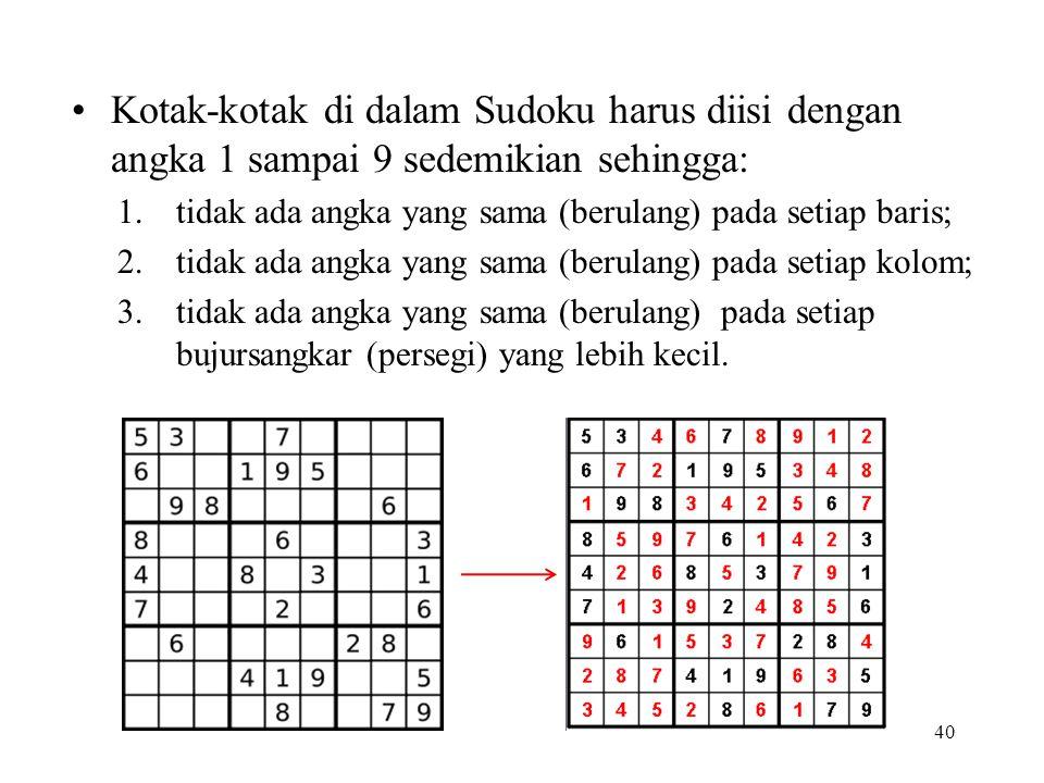 Kotak-kotak di dalam Sudoku harus diisi dengan angka 1 sampai 9 sedemikian sehingga: