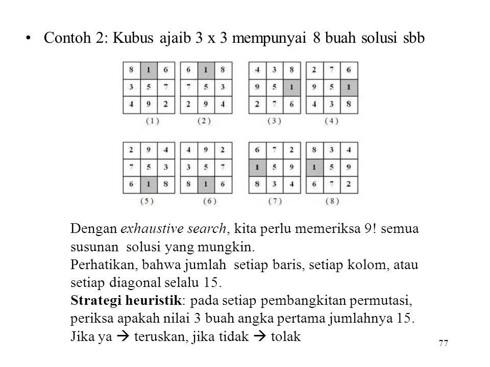 Contoh 2: Kubus ajaib 3 x 3 mempunyai 8 buah solusi sbb