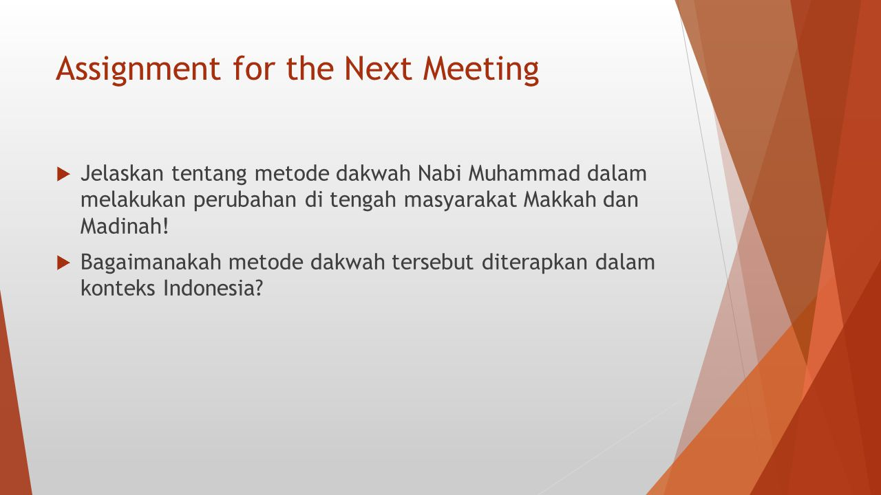 Assignment for the Next Meeting
