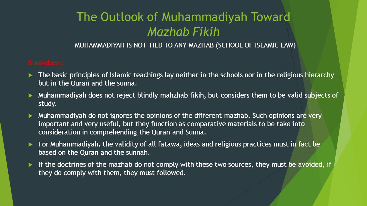 The Outlook of Muhammadiyah Toward Mazhab Fikih
