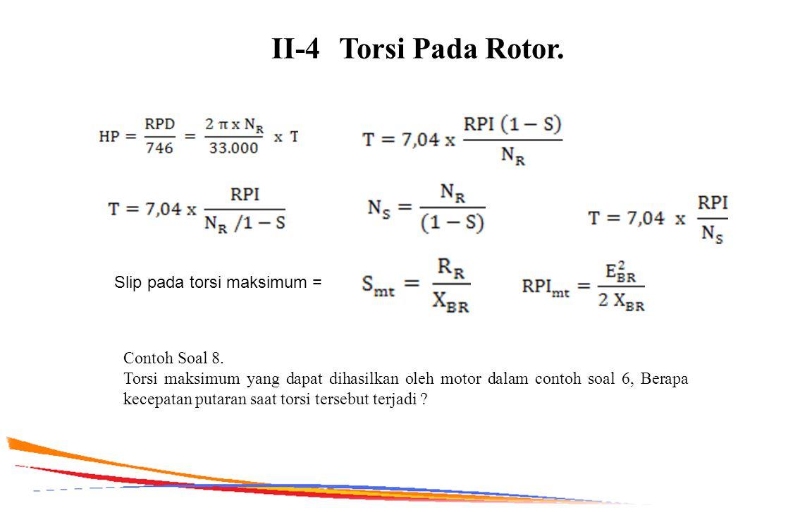 II-4 Torsi Pada Rotor. Slip pada torsi maksimum = Contoh Soal 8.