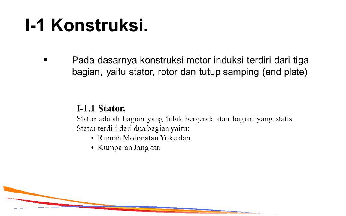 I-1 Konstruksi. Pada dasarnya konstruksi motor induksi terdiri dari tiga bagian, yaitu stator, rotor dan tutup samping (end plate)