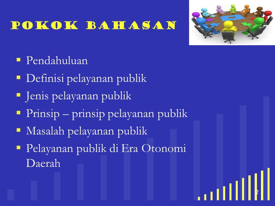 Definisi pelayanan publik Jenis pelayanan publik