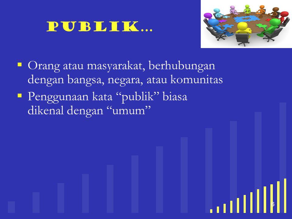 Publik… Orang atau masyarakat, berhubungan dengan bangsa, negara, atau komunitas.
