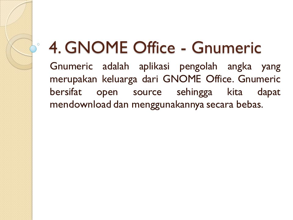 4. GNOME Office - Gnumeric