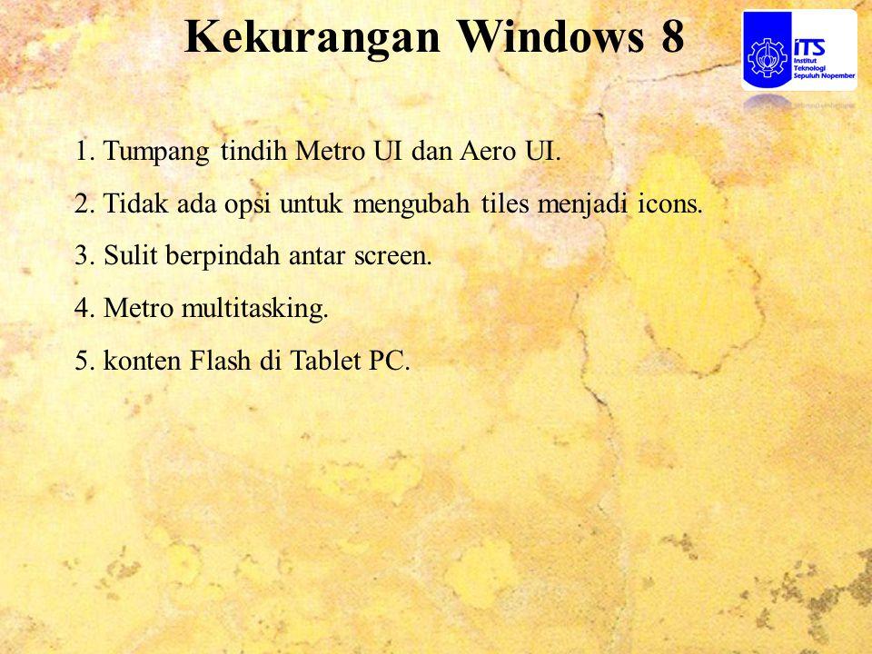 Kekurangan Windows 8 1. Tumpang tindih Metro UI dan Aero UI.