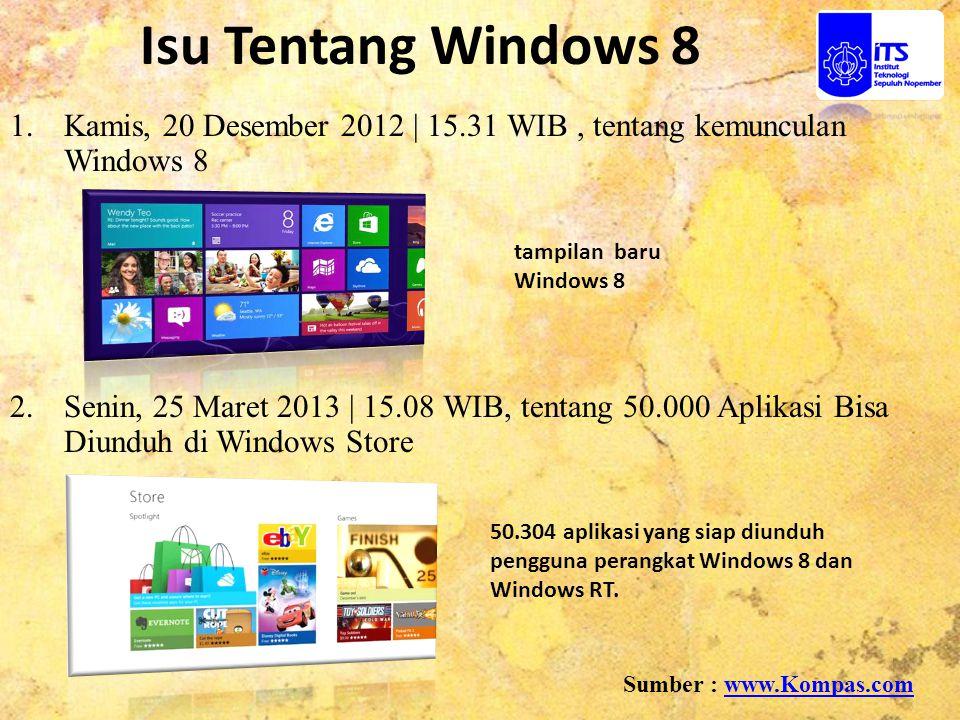 Isu Tentang Windows 8 Kamis, 20 Desember 2012 | 15.31 WIB , tentang kemunculan Windows 8.