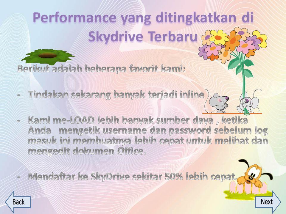 Performance yang ditingkatkan di Skydrive Terbaru