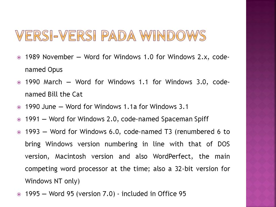 Versi-versi pada windows