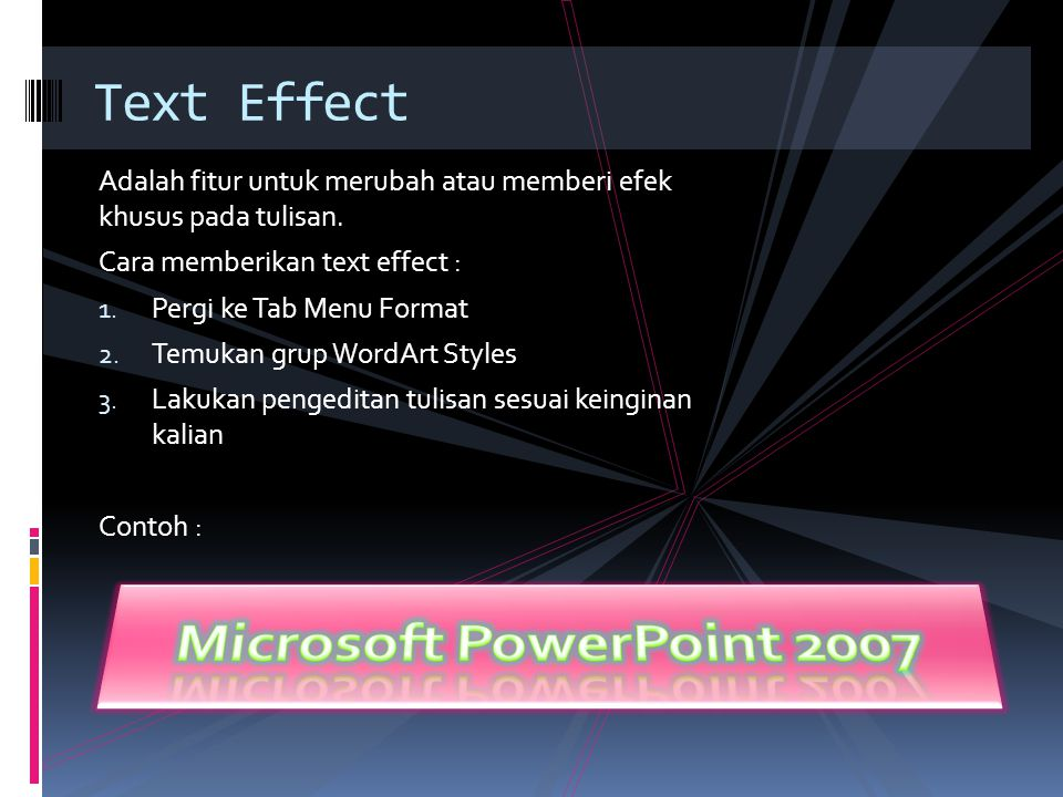 Microsoft PowerPoint 2007 Text Effect