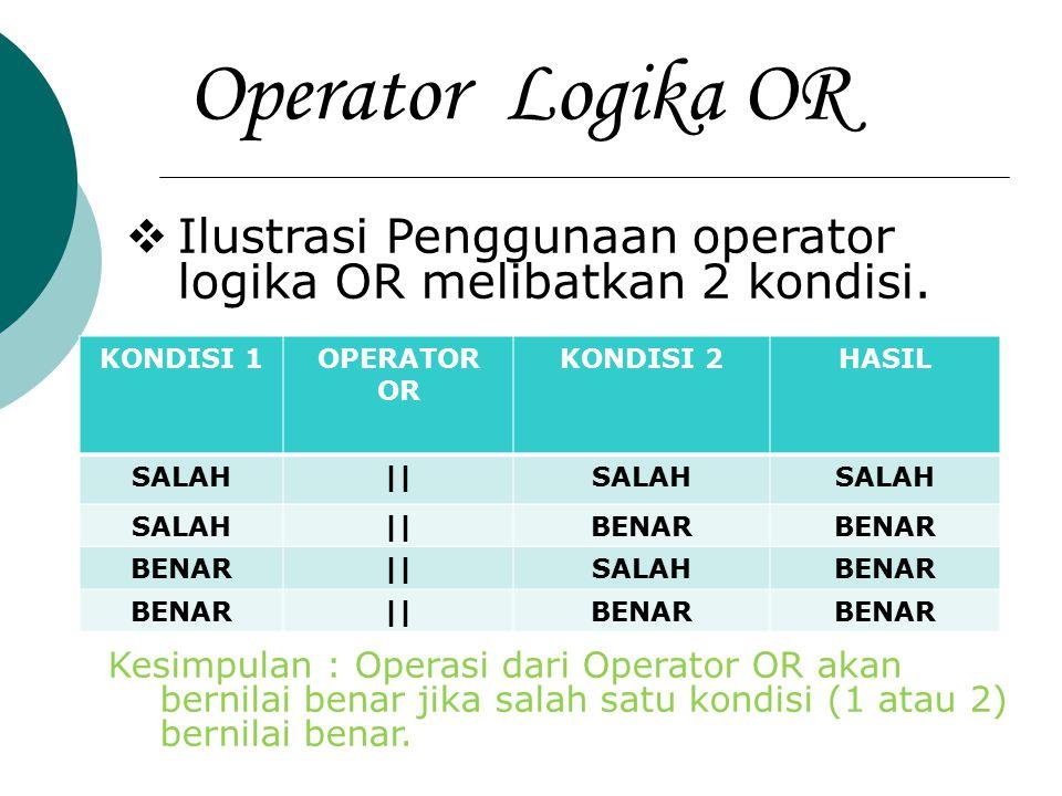 Operator Logika OR Ilustrasi Penggunaan operator logika OR melibatkan 2 kondisi. KONDISI 1. OPERATOR OR.