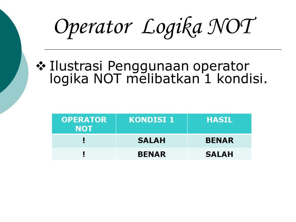 Operator Logika NOT Ilustrasi Penggunaan operator logika NOT melibatkan 1 kondisi. OPERATOR NOT. KONDISI 1.