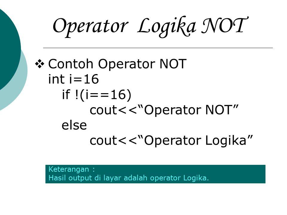 Operator Logika NOT Contoh Operator NOT int i=16 if !(i==16)
