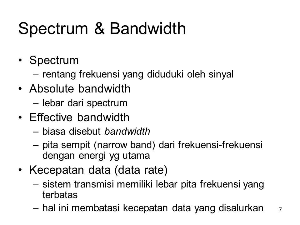 Spectrum & Bandwidth Spectrum Absolute bandwidth Effective bandwidth