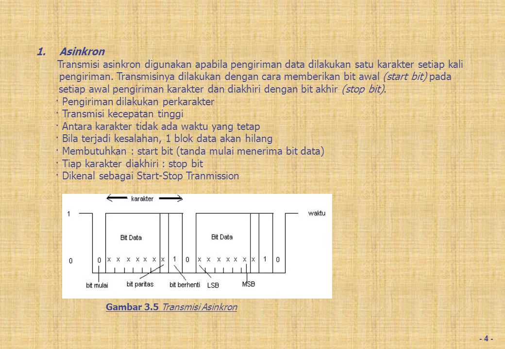 · Pengiriman dilakukan perblok data (karakter)