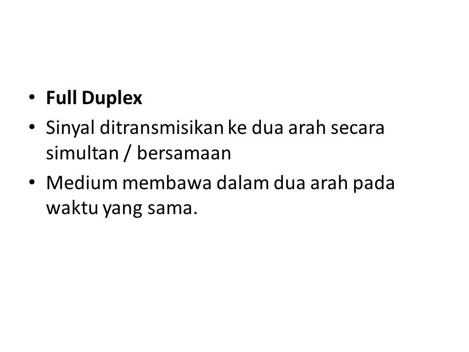 Full Duplex Sinyal ditransmisikan ke dua arah secara simultan / bersamaan.