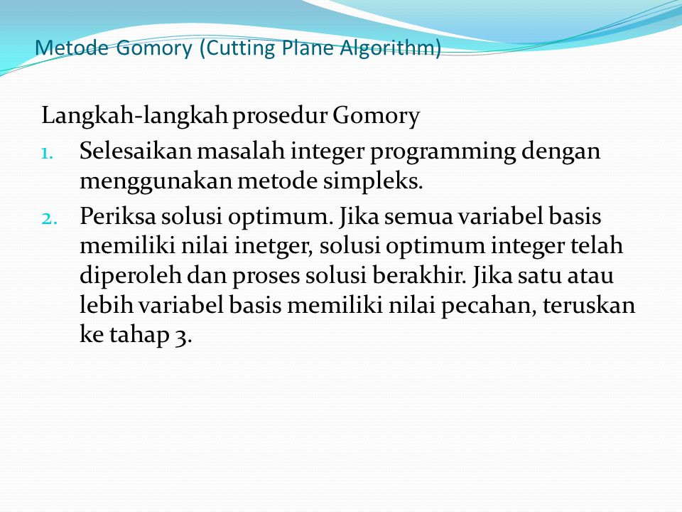 Metode Gomory (Cutting Plane Algorithm)