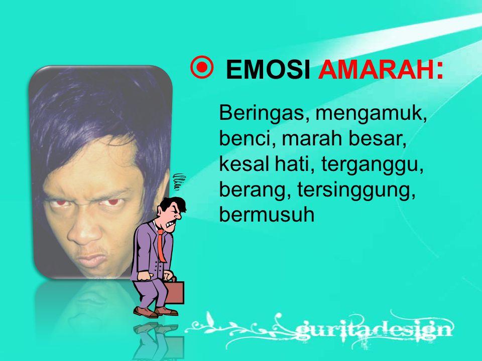 EMOSI AMARAH: Beringas, mengamuk, benci, marah besar, kesal hati, terganggu, berang, tersinggung, bermusuh.