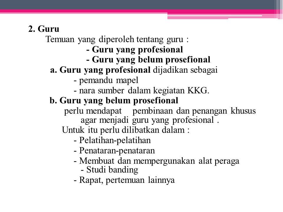 2. Guru Temuan yang diperoleh tentang guru : - Guru yang profesional. - Guru yang belum prosefional.