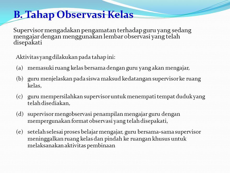 B. Tahap Observasi Kelas