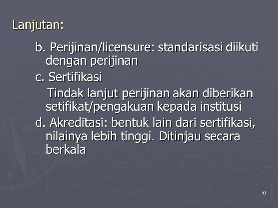 Lanjutan: b. Perijinan/licensure: standarisasi diikuti dengan perijinan. c. Sertifikasi.