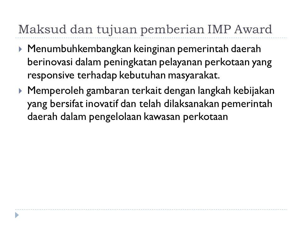 Maksud dan tujuan pemberian IMP Award