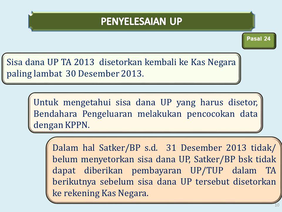PENYELESAIAN UP Pasal 24. Sisa dana UP TA 2013 disetorkan kembali ke Kas Negara paling lambat 30 Desember 2013.