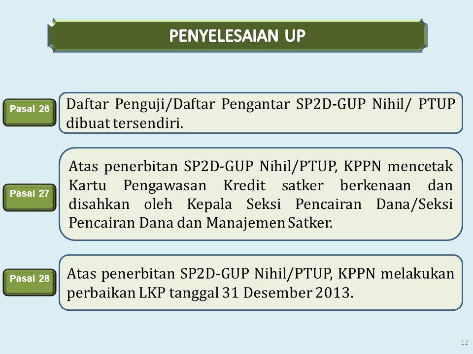 PENYELESAIAN UP Daftar Penguji/Daftar Pengantar SP2D-GUP Nihil/ PTUP dibuat tersendiri. Pasal 26.