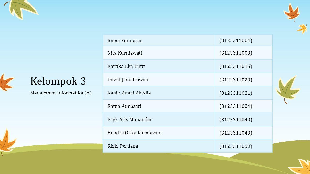 Kelompok 3 Riana Yunitasari (3123311004) Nita Kurniawati (3123311009)