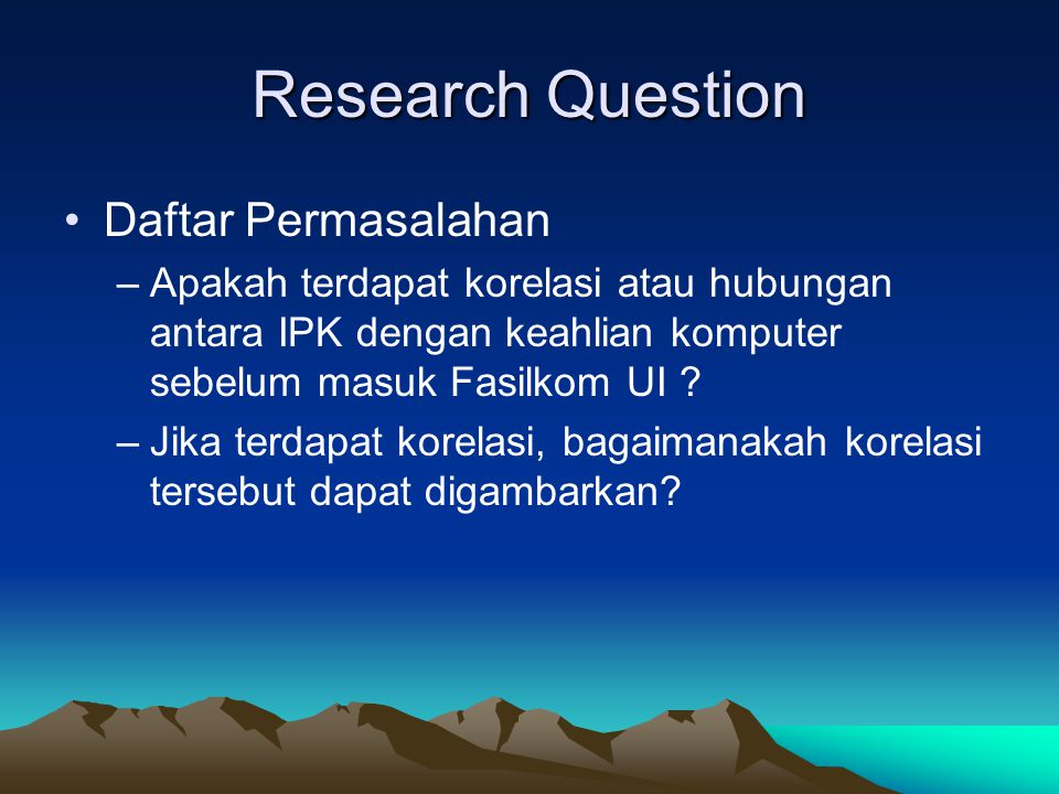 Research Question Daftar Permasalahan
