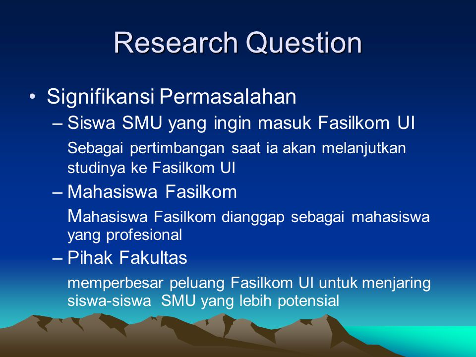 Research Question Signifikansi Permasalahan