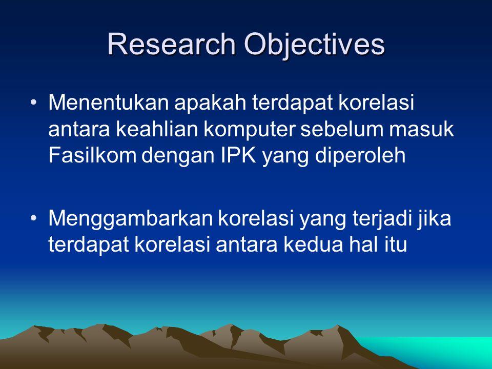 Research Objectives Menentukan apakah terdapat korelasi antara keahlian komputer sebelum masuk Fasilkom dengan IPK yang diperoleh.
