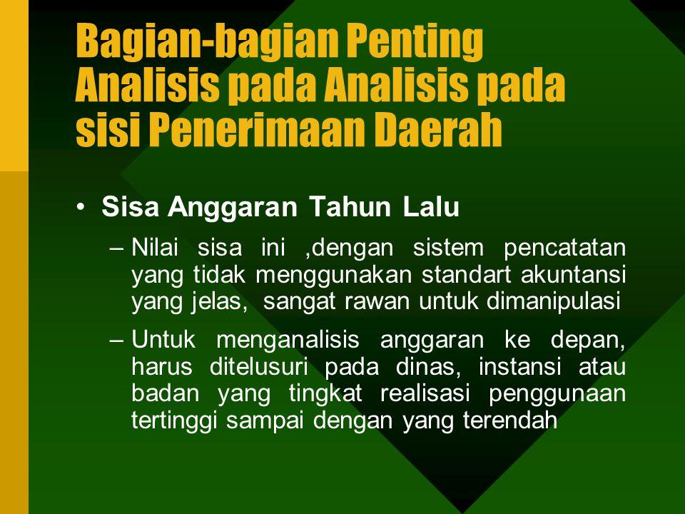 Bagian-bagian Penting Analisis pada Analisis pada sisi Penerimaan Daerah