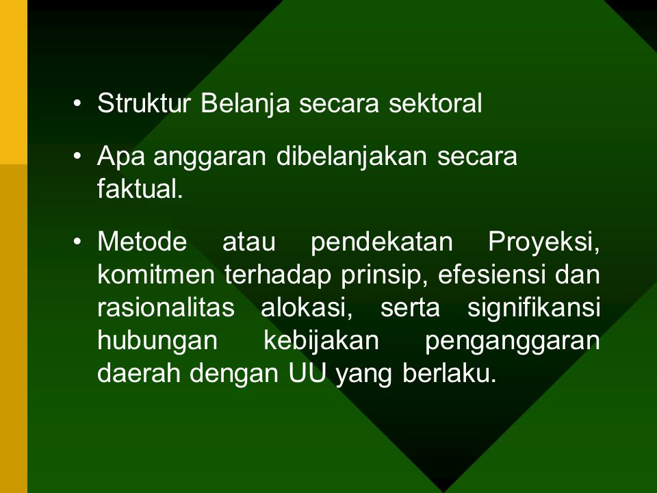 Struktur Belanja secara sektoral