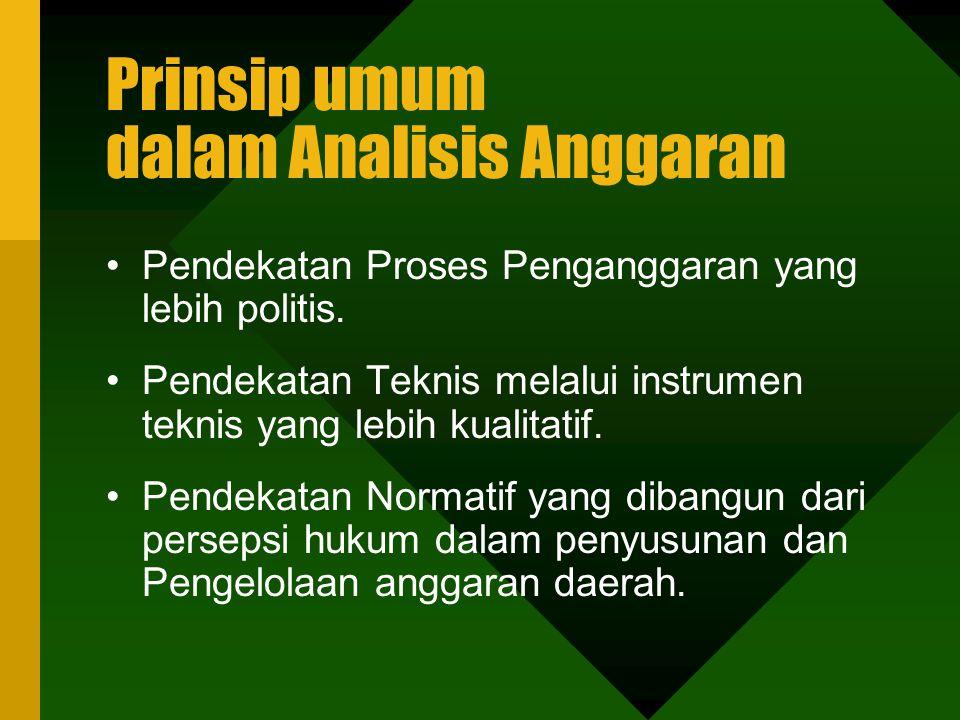Prinsip umum dalam Analisis Anggaran