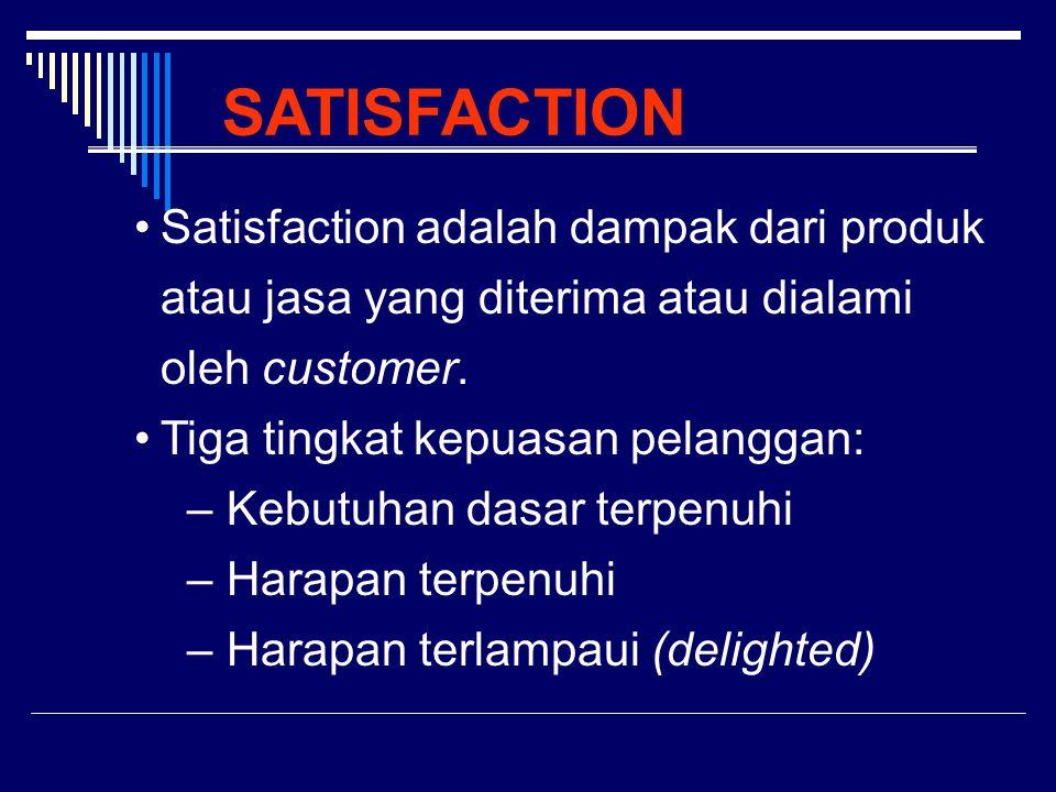 SATISFACTION Satisfaction adalah dampak dari produk atau jasa yang diterima atau dialami oleh customer.