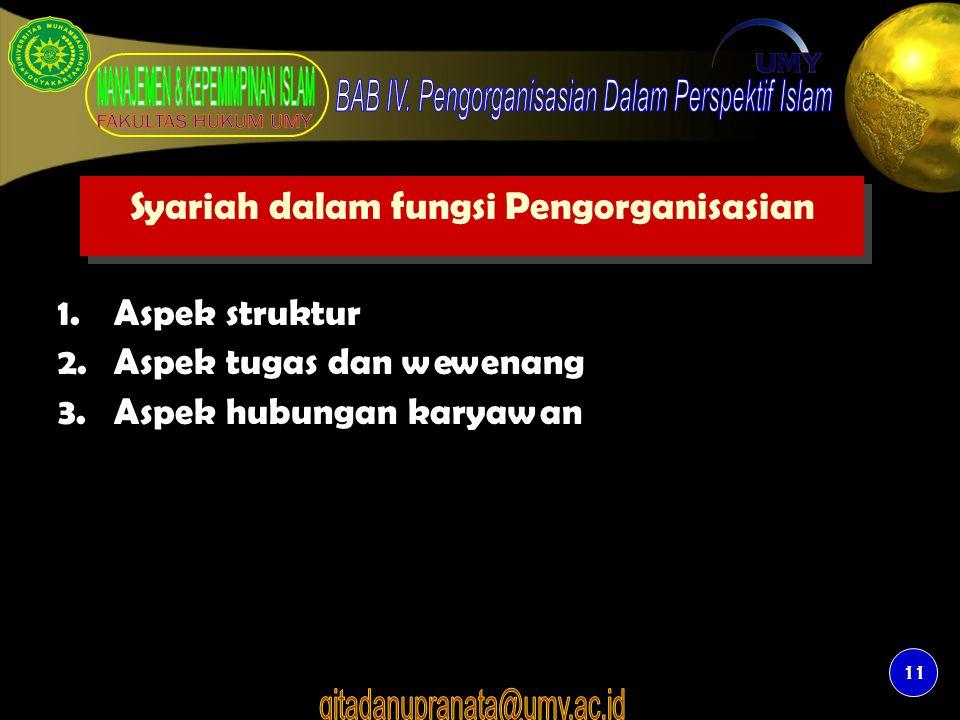 Syariah dalam fungsi Pengorganisasian