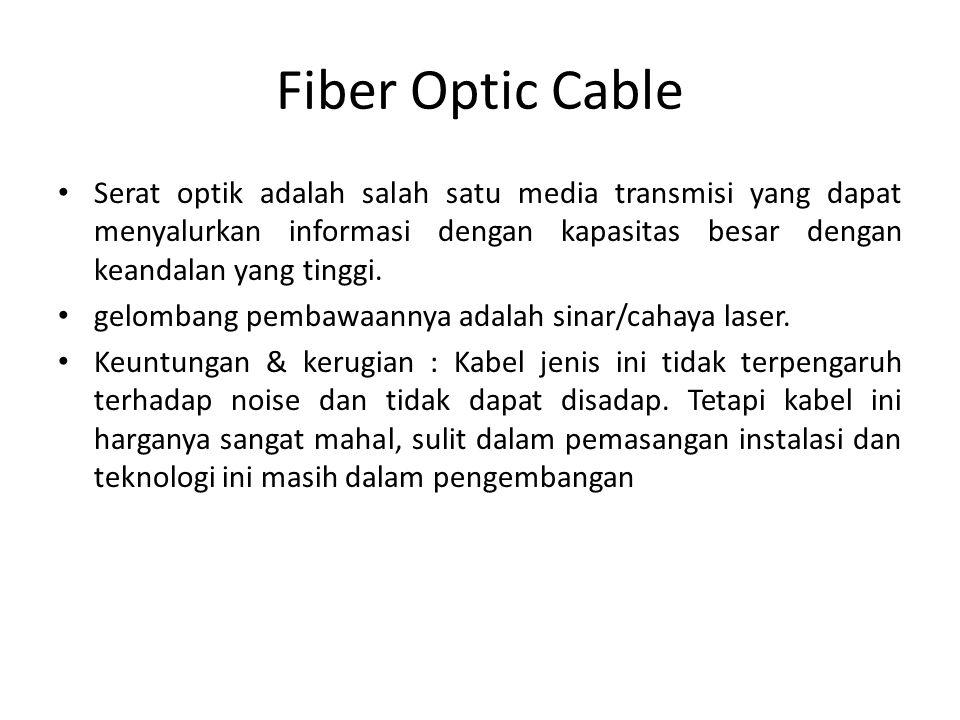Fiber Optic Cable Serat optik adalah salah satu media transmisi yang dapat menyalurkan informasi dengan kapasitas besar dengan keandalan yang tinggi.