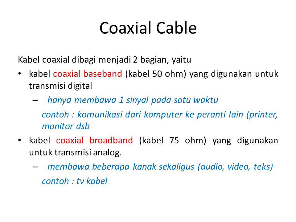 Coaxial Cable Kabel coaxial dibagi menjadi 2 bagian, yaitu