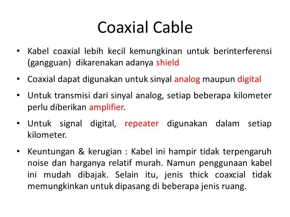 Coaxial Cable Kabel coaxial lebih kecil kemungkinan untuk berinterferensi (gangguan) dikarenakan adanya shield.