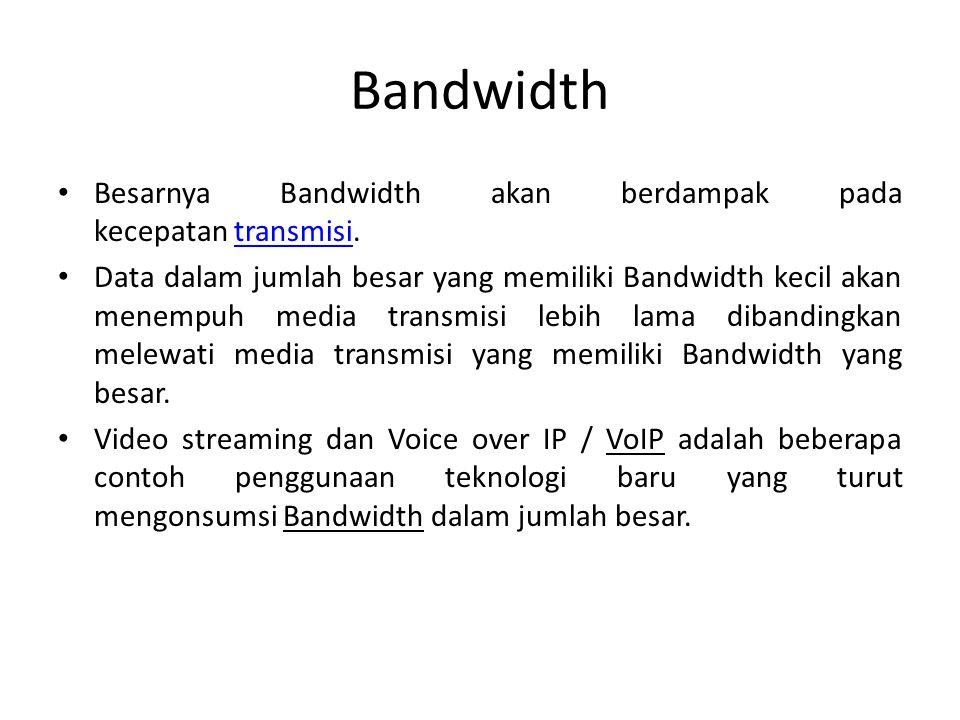 Bandwidth Besarnya Bandwidth akan berdampak pada kecepatan transmisi.
