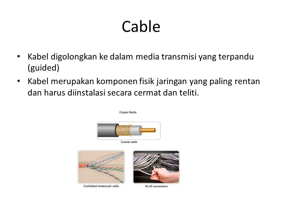 Cable Kabel digolongkan ke dalam media transmisi yang terpandu (guided)