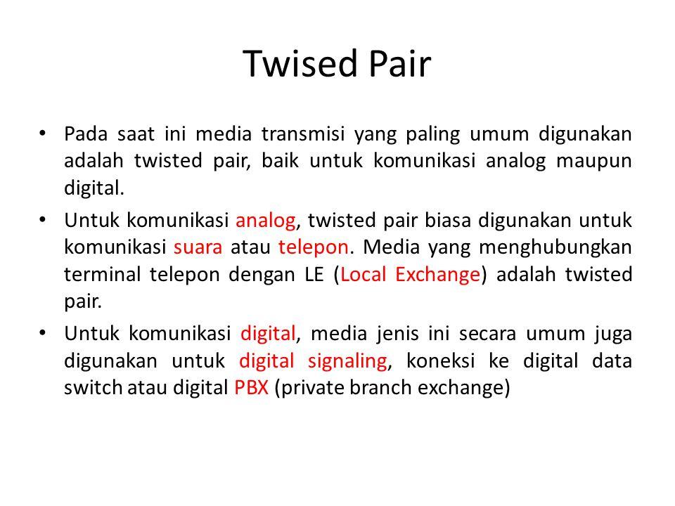 Twised Pair Pada saat ini media transmisi yang paling umum digunakan adalah twisted pair, baik untuk komunikasi analog maupun digital.