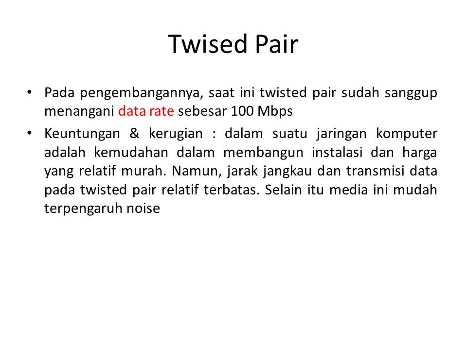Twised Pair Pada pengembangannya, saat ini twisted pair sudah sanggup menangani data rate sebesar 100 Mbps.