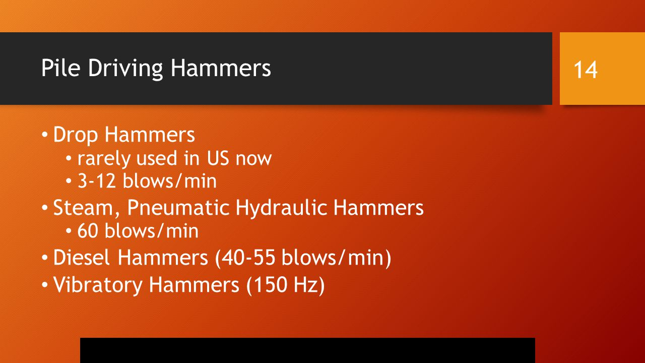 Pile Driving Hammers Drop Hammers Steam, Pneumatic Hydraulic Hammers