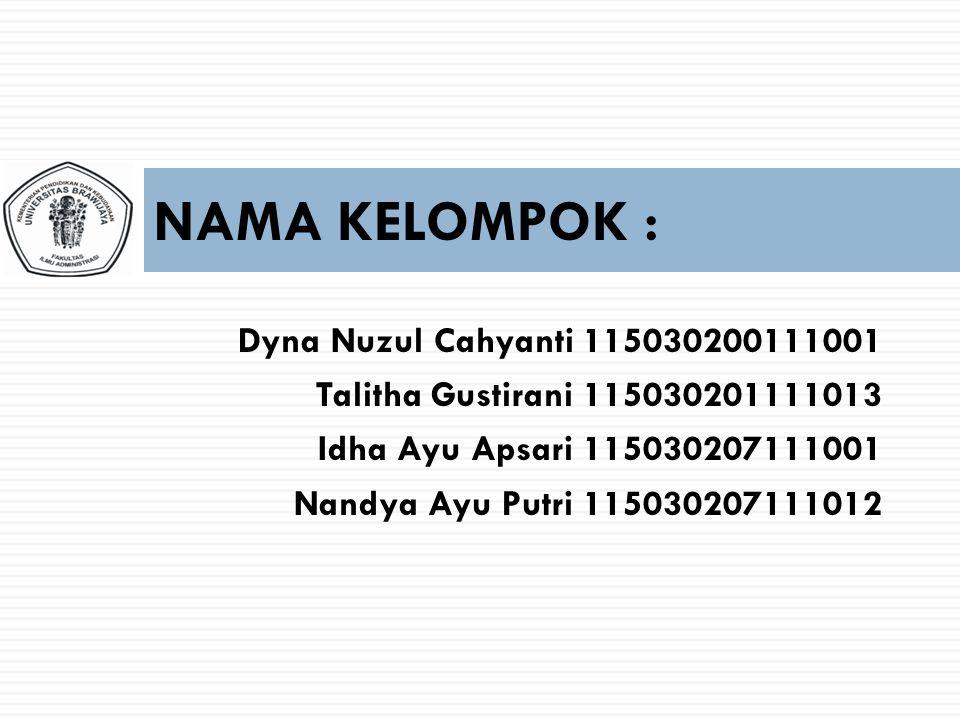 NAMA KELOMPOK : Dyna Nuzul Cahyanti 115030200111001