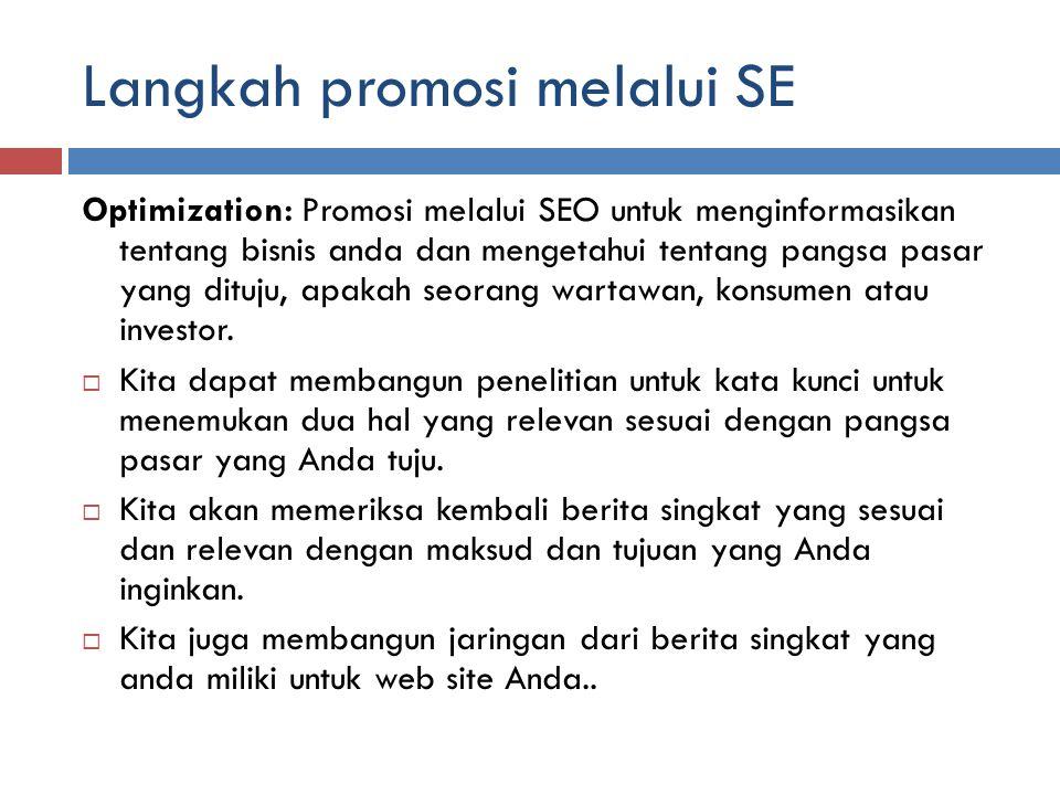 Langkah promosi melalui SE