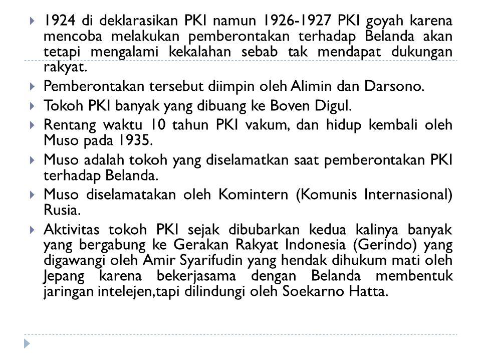 1924 di deklarasikan PKI namun 1926-1927 PKI goyah karena mencoba melakukan pemberontakan terhadap Belanda akan tetapi mengalami kekalahan sebab tak mendapat dukungan rakyat.