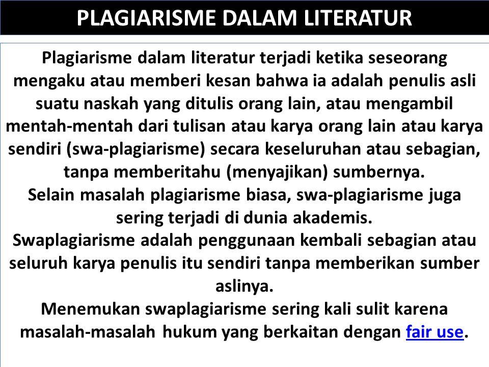 PLAGIARISME DALAM LITERATUR